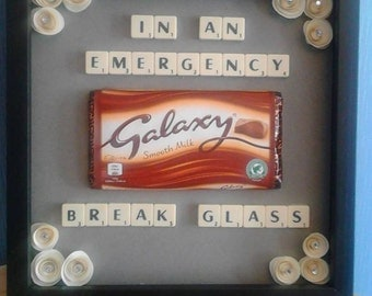 in case of emergency frame, chocolate gifts, photo frame, scrabble art,