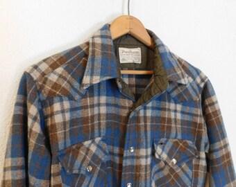 Vintage 70's Pendleton Wool Flannel / Size Medium