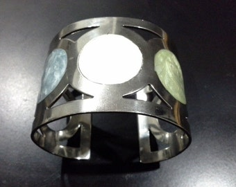 Vintage Modernist Circles and Enamel Stainless Steel Cuff Bracelet Couture Bangle