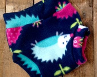 Size Medium Fleece Diaper Cover in Hedgehog