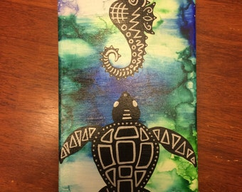 Whimsical Seahorse and Sea Turtle Canvas