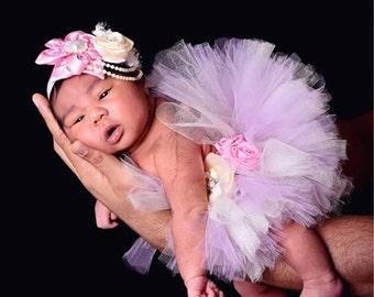 Baby tutu Newborn tutu Purple Pink beige elegant tutu set