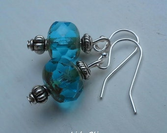 Blue Czech Beads, Sterling Silver Earring Hooks