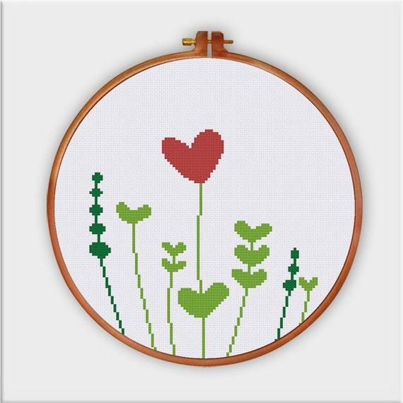Cute Heart Grass Cross Stitch Pattern Modern Funny Easy