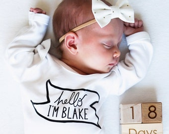"Personalised New Baby ""Hello I'm"" Bodysuit - Baby Onesie - Baby Clothes - Personalised Baby - Baby Gift - Personalised - New Baby"