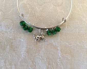 Horse And Crystal Silver Tone Adjustable Wire Bangle Bracelet