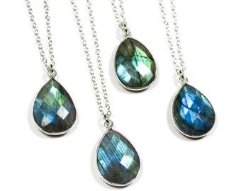 Labradorite Necklace, Silver Labradorite Necklace, Gift For Her, Layering Necklace, Gemstone Necklace, Labradorite Jewelry, Boho Necklace