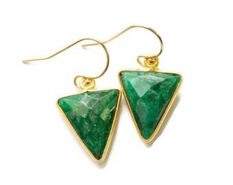 Emerald Earrings, Green Triangle Earrings, Geometric Earrings, Green Gemstone Earrings, Emerald Dangle Earrings, May Birthstone