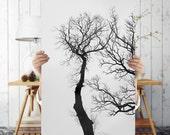 Black and White Tree Art Print - Minimalist Nature Photography, Digital Download | Tree Art | Tree Wall Art | Scandinavian Print