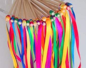 Batons Rubans pour sortie de cérémonie mariage Thème FETE FORRAINE Lot de 20