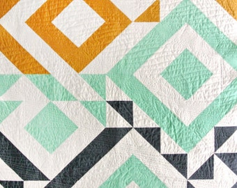 Triangle Jitters Quilt Pattern PDF Download - DIY Sewing for Beginners Original Modern Quilting Designs for Baby, Throw and Twin Sizes