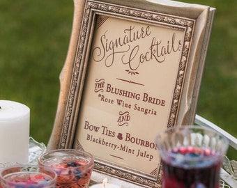 Signature Drink Sign / Marsala Cocktail Signs / Gold Wedding Signs / Bar Signs / Printed Drink Sign / Vintage Marsala Wedding Sign 8 x 10