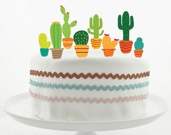 Cake Topper Set - Cake Decorations - PRINTABLE - DIY - Cute Cactus Collection - Mexican Party - Wild West