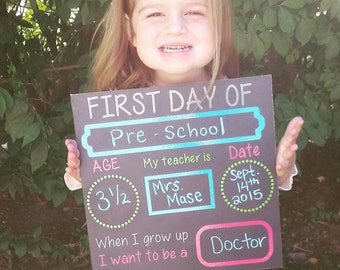 1st day of school chalkboard,1st day of school sign, back to school chalkboard sign, reusable, photo prop, first day of school chalkboard