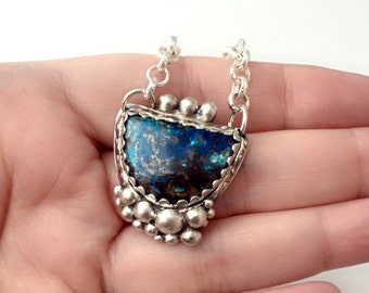 Blue Shattucktite necklace, Silver bubble necklace, blue stone pendant