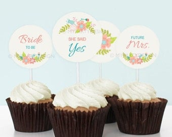 Floral Bridal Shower - Cupcake Toppers - Party Circles - Ivory colour - INSTANT DOWNLOAD - Printable PDF with Editable Text