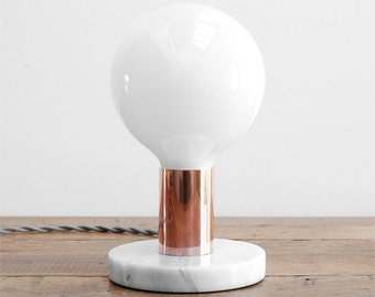 Modern Table Lamp - Mid Century Table Lamp -  Marble Table Lamp - Modern Desk Lamp - White Marble & Polished Copper Table Lamp