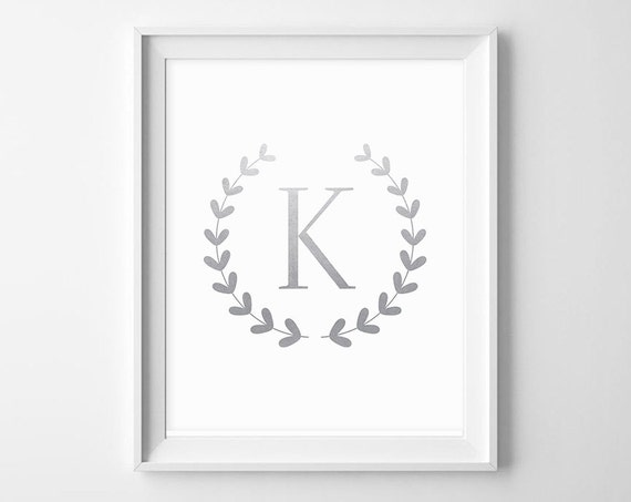 Silver Letters Wall Decor : Silver monogram initial prints letters wall decor printable
