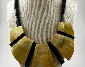 Black Coral & Mother Of Pearl Necklace
