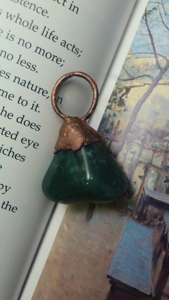 Tumbled Moss Agate Copper electroformed Necklace, Moss Agate pendant, Moss Agate Tumbled Pendant
