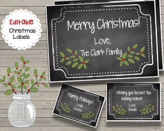 Christmas EDITABLE Notes - Holiday Tags - Cards - Thank You Notes - Labels - Chalkboard - Custom - INSTANT DOWNLOAD - Printable