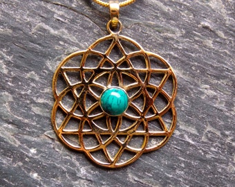 Flower of Life Pendant with Turquoise