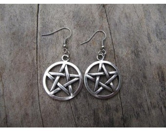 Pentagram french hook earrings