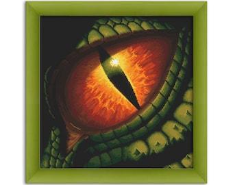 """PDF Cross Stitch Pattern """"Dragon eye""""  Instant Download"""