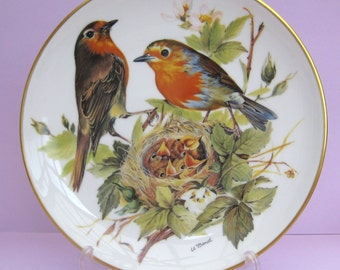 """Ursula Band Collector Plate """"Rotkehlchen ( Red Robin )"""" 1986 WWF, Boxed, with DOCS"""