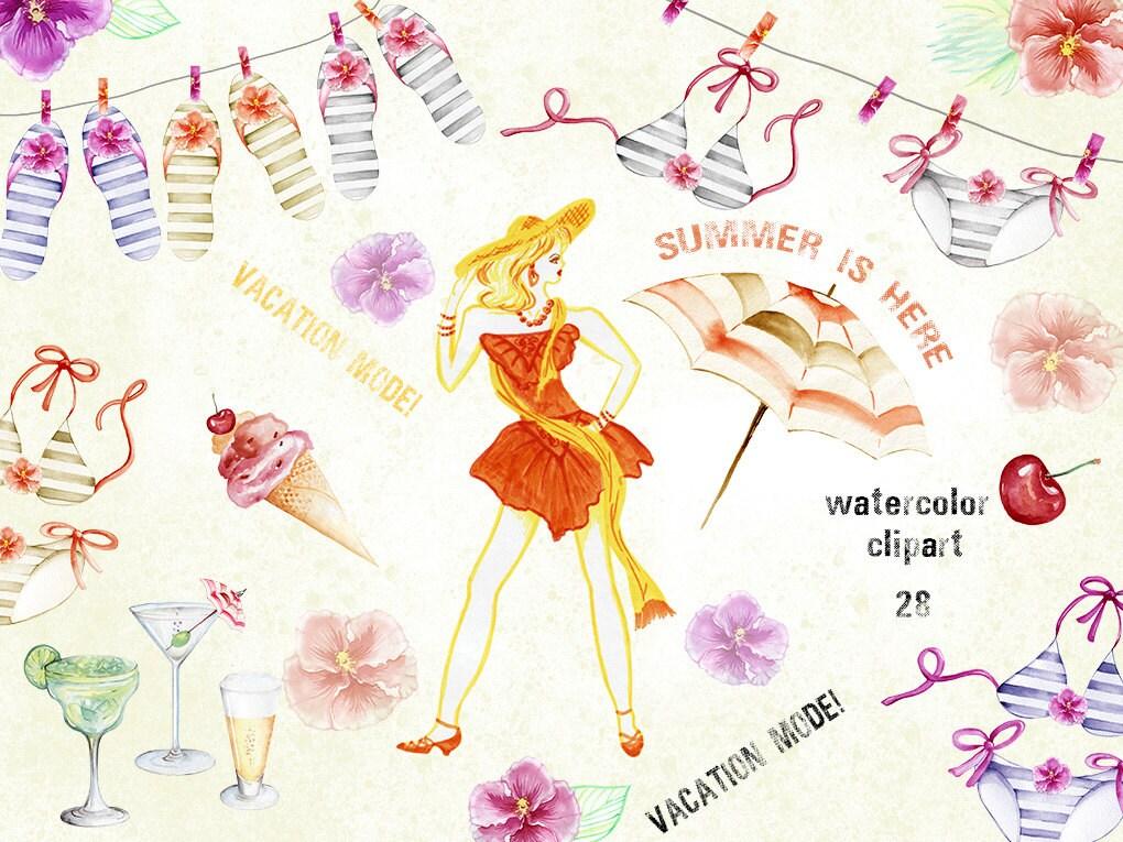 Watercolor Clipart Instant Download Swim Suits Flip Flops