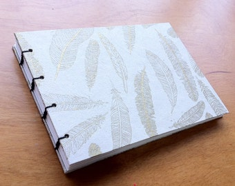 White and Gold Handmade Hardcover Blank Journal // Notebook // Coptic Stitch // Sketchbook // Book // Feathers // Gift // Lokta Paper