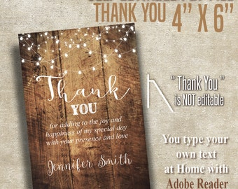 "4"" x 6"" Thank you card, Printable Instant Download, Self Editable PDF file A200A"