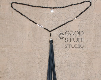 Laura Necklace - handmade beaded necklace leather tassel