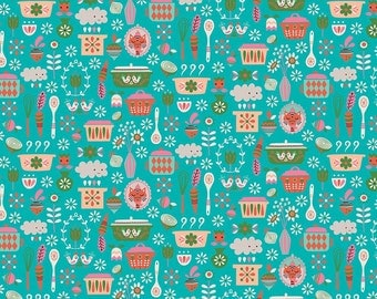 Kitchen Teal Vintage Kitchen by Andrea Muller for Riley Blake  Fabrics