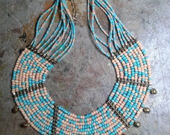 Necklace plastron multi ranks, ethnic style, Bohemian glass and gilt metal beads.