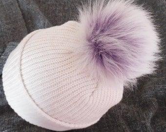 Size M faux fur pom pom 5 inches 13 cm