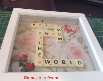 Mother's Day scrabble names in a frame