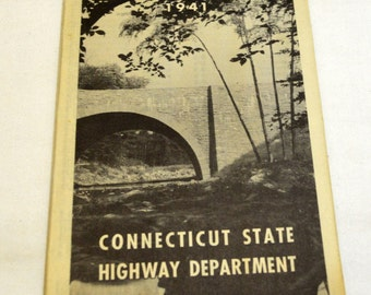 VTG 1941 Connecticut Road Map Collectible Advertising Travel Scrapbooking Framing