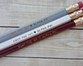 "ALPHA PHI ""Envy the Ivy""  3 Pack Pencil Set"