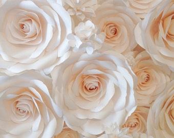 Wedding Backdrop - Large Paper Flowers - Paper Flower Backdrop - Wedding Reception Decor - Bridal Shower Decor - Floral Backdrop