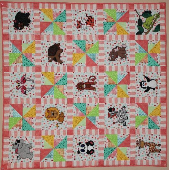 Zoo animal applique PDF baby quilt pattern easy pieced : giraffe baby quilt pattern - Adamdwight.com