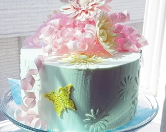 Beautiful Readymade Fake Daisy Top Tier Faux Cake  - Dummy for Wedding or Special Occation made with Sugarpaste, Royal Icing,