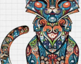 Fancy Feline Abstract Modern Cat Cross stitch pattern and tutorial instant download
