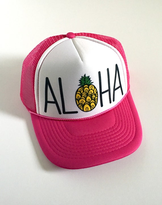 Aloha Trucker Hat| Aloha Hat| Hawaii Hat| Beach Hat| Pineapple Hat| Pink Hat