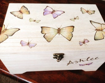 Large wooden box, butterflies, keepsake box, memory box, wedding, anniversary gift, personalised box, gifts for her,gift for mum, jewelry bo