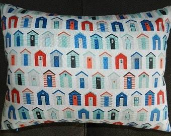 12 inches x 16 inches - Nautical Beach Huts and Stripes  Pillow Cover,Sham , Lumbar, Throw Pillow, Cushion, Decorative Pillow