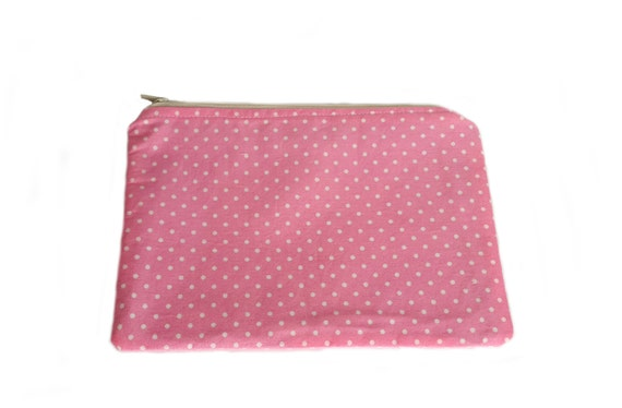 Pink makeup bag, makeup organizer, zipper case, toiletry bag, cosmetic bag, cosmetic case, polka dots makeup case, bridesmaid gift