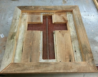 Reclaimed Barnwood Frame with Cross