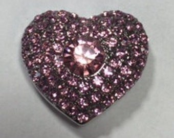 New! PINK JEWELED HEART Snap...Large center stone.... Fits 18-20mm