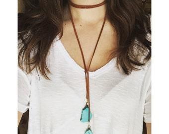 Boho leather lariat turquoise stone necklace